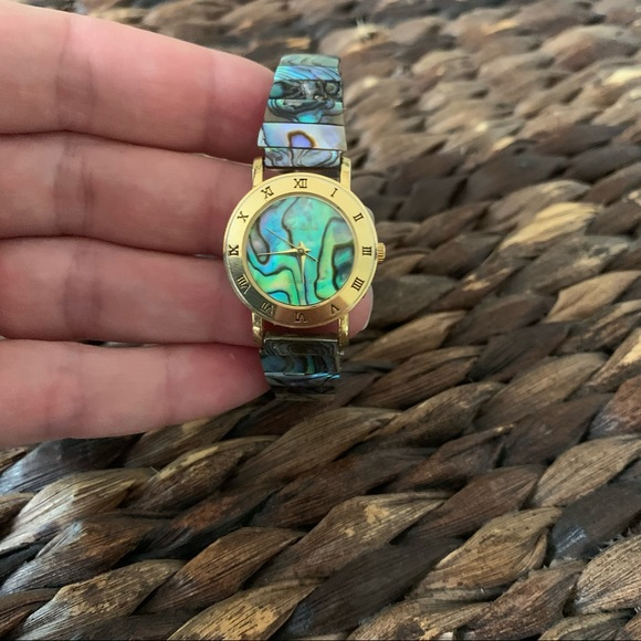 Vintage Le Baron abalone shell watch